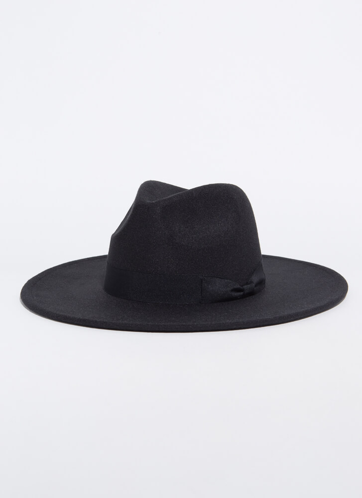 Bow Your Own Way Wide-Brim Felted Fedora BLACK