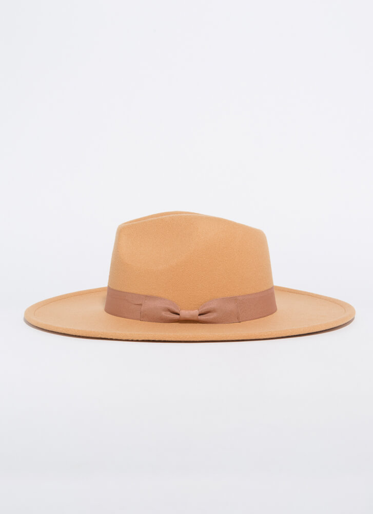 Bow Your Own Way Wide-Brim Felted Fedora CAMEL