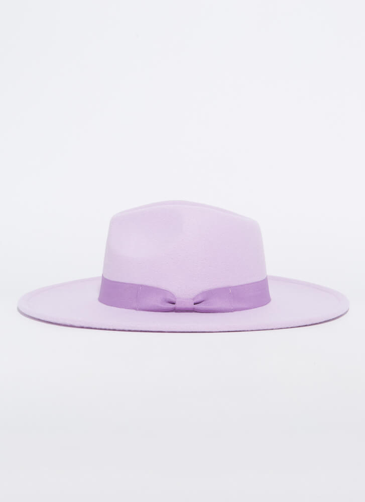 Bow Your Own Way Wide-Brim Felted Fedora LILAC