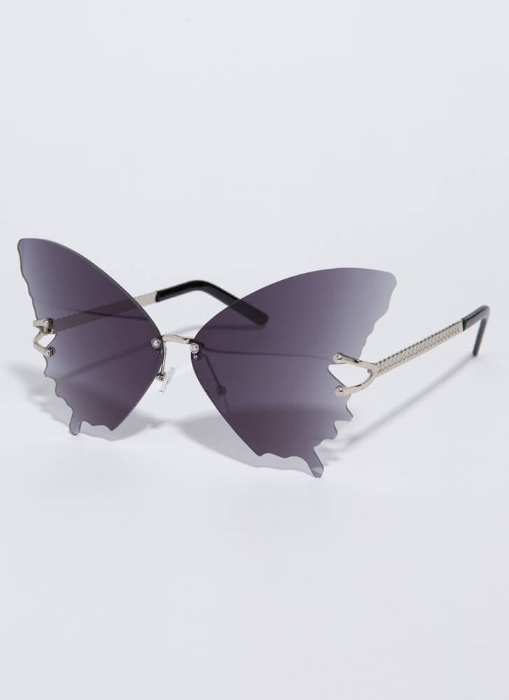 Butterfly Drip Winged Sunglasses BLACK