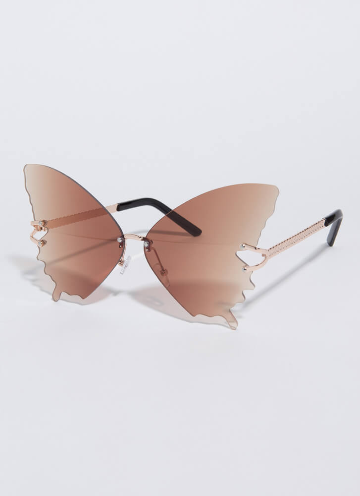 Butterfly Drip Winged Sunglasses BROWN