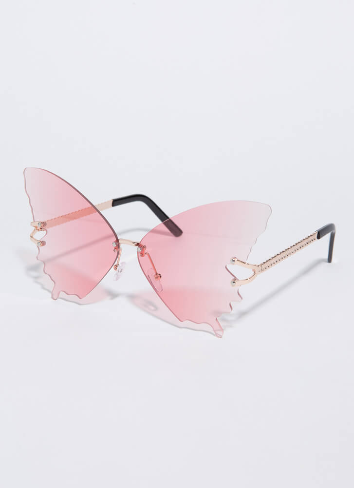 Butterfly Drip Winged Sunglasses PINK