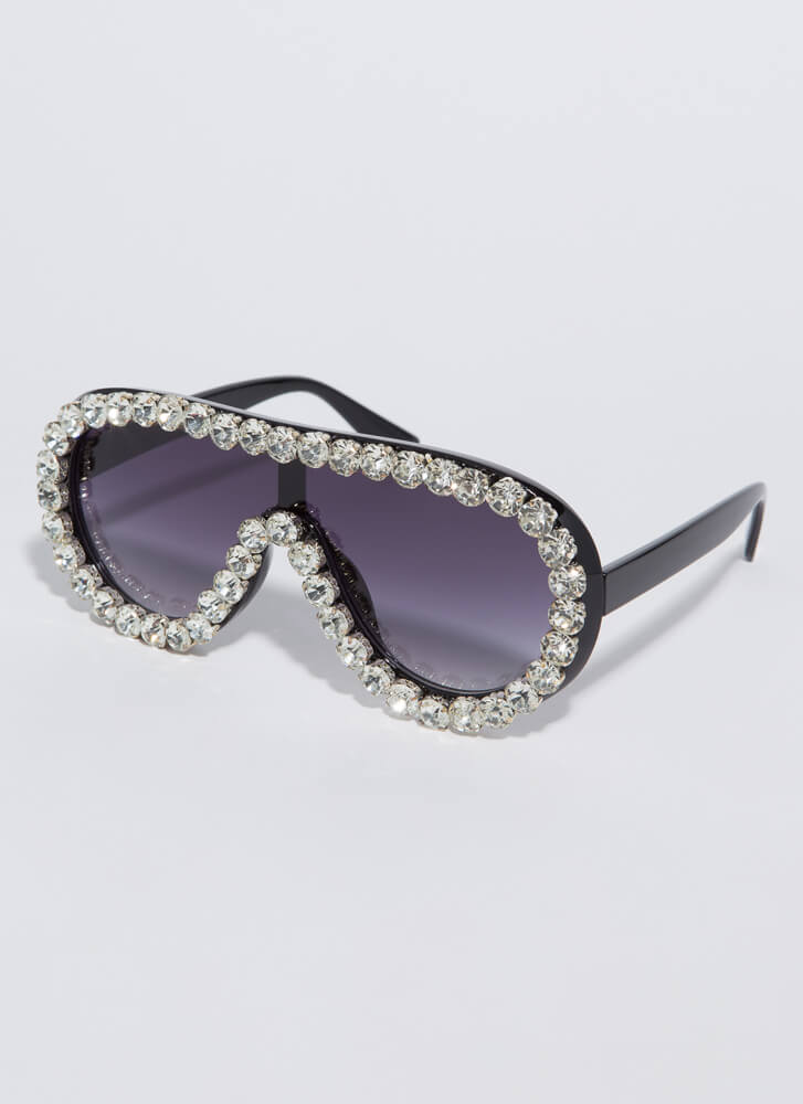 Bling Out The Jeweled Goggle Sunglasses BLACK