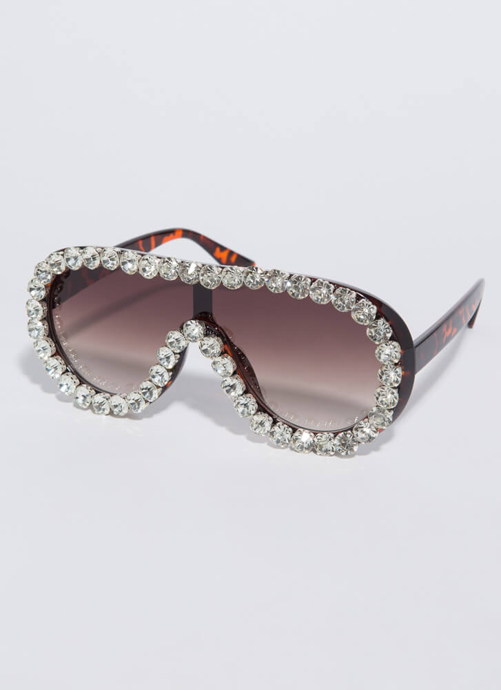 Bling Out The Jeweled Goggle Sunglasses TORTOISE