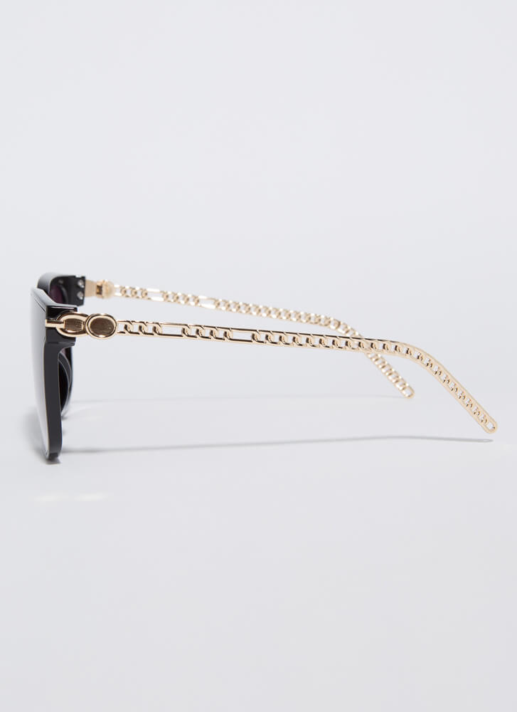 Connected Chain-Link Square Sunglasses BLACK