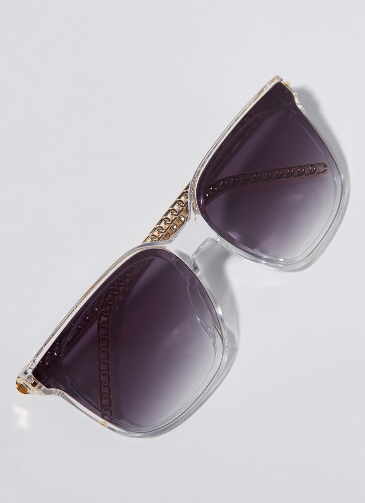 Connected Chain-Link Square Sunglasses CLEAR