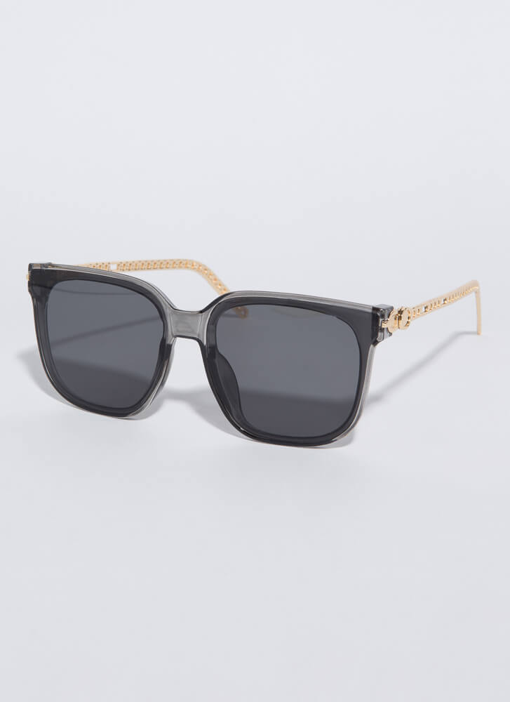 Connected Chain-Link Square Sunglasses GREY