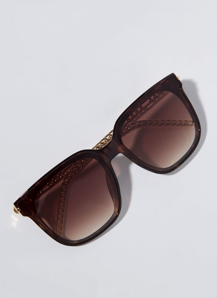 Connected Chain-Link Square Sunglasses TORT