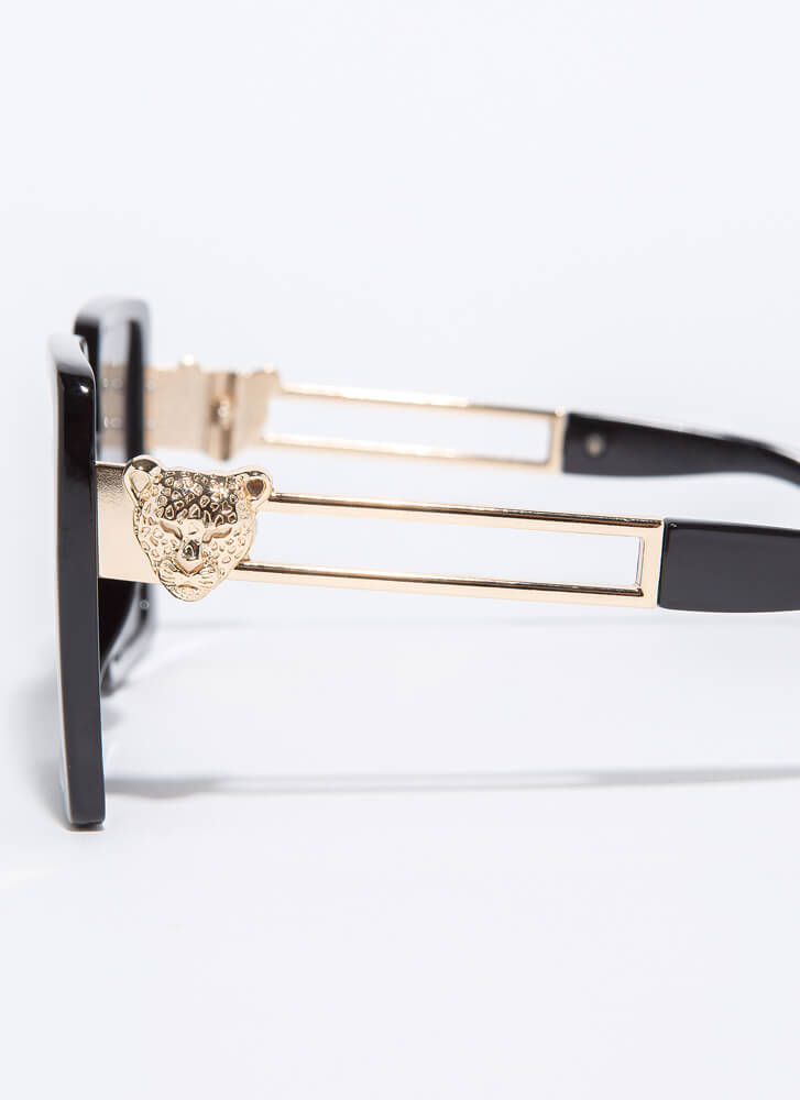 Leopards And Cheetahs Square Sunglasses BLACK