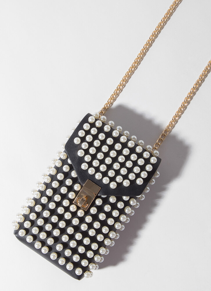 Edgy Lady Faux Pearl Pouch And Belt Set BLACKCREAM