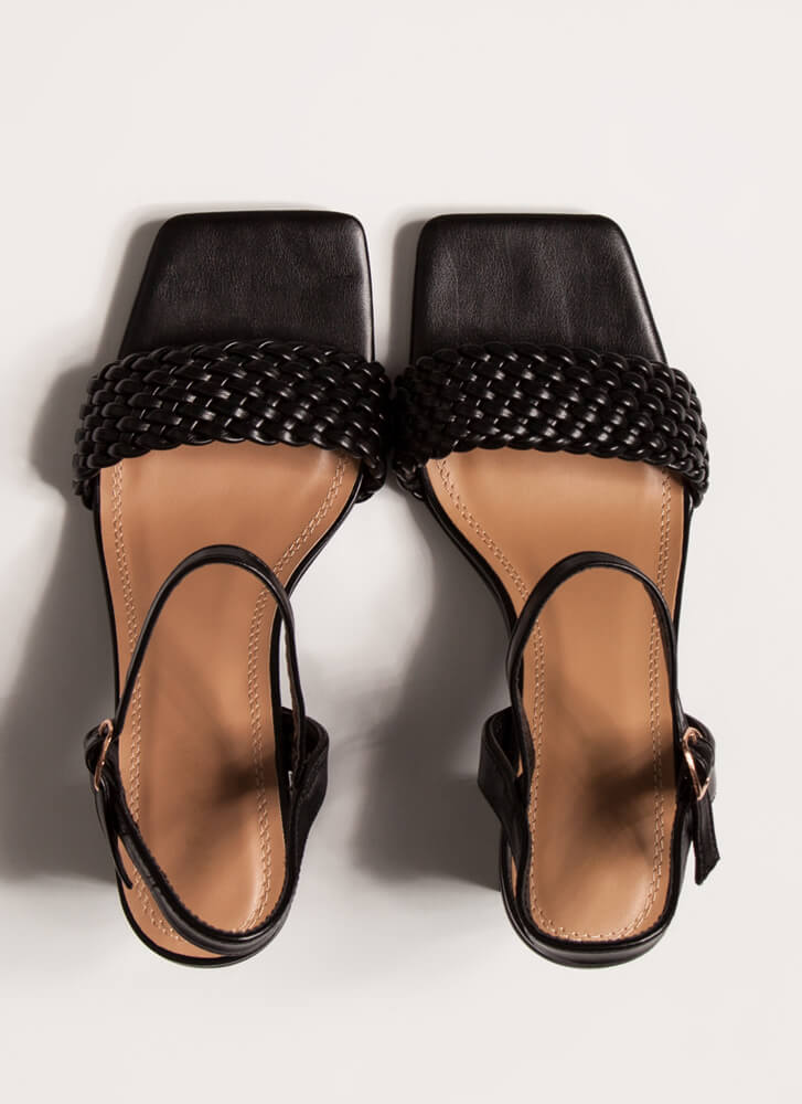 Out And About Braided Block Heels BLACK