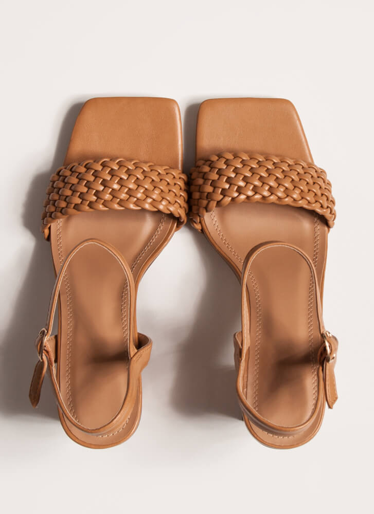 Out And About Braided Block Heels TAN