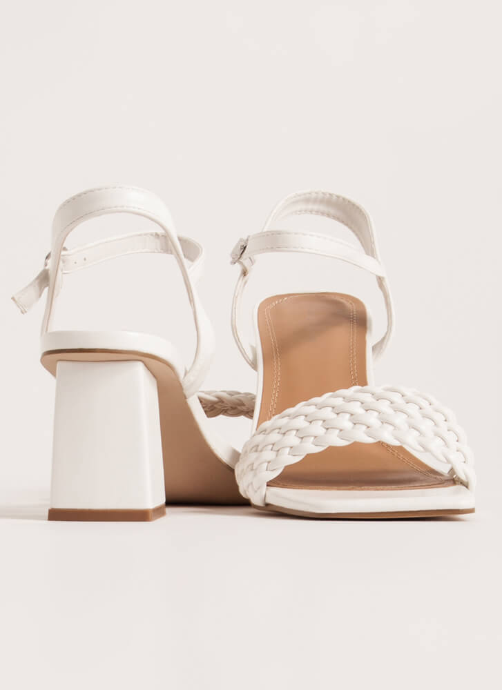 Out And About Woven Block Heels WHITE