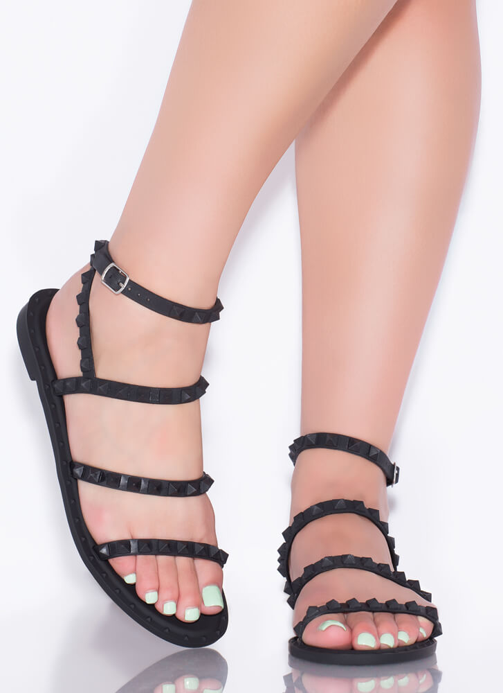 Water's Edge Studded Matte Jelly Sandals BLACK