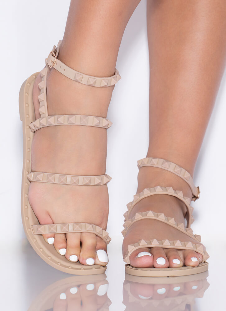 Water's Edge Studded Matte Jelly Sandals NATURAL