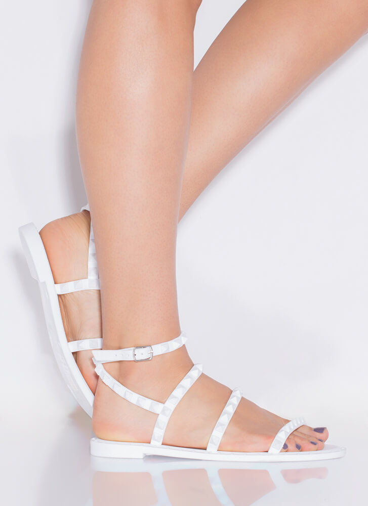 Water's Edge Studded Matte Jelly Sandals WHITE