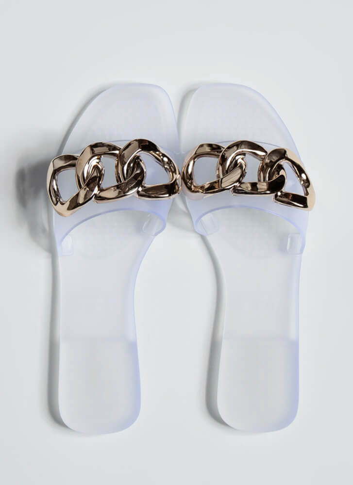 Luxury Spa Chain-Link Matte Jelly Sandals CLEAR