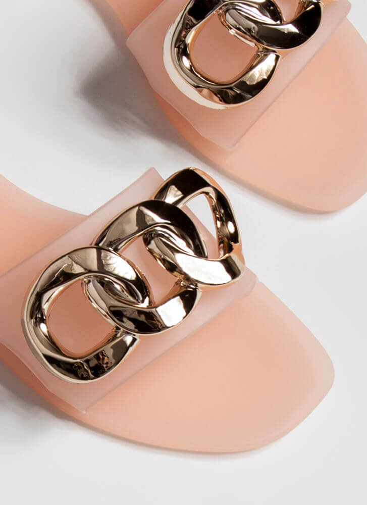 Luxury Spa Chain-Link Matte Jelly Sandals NUDE