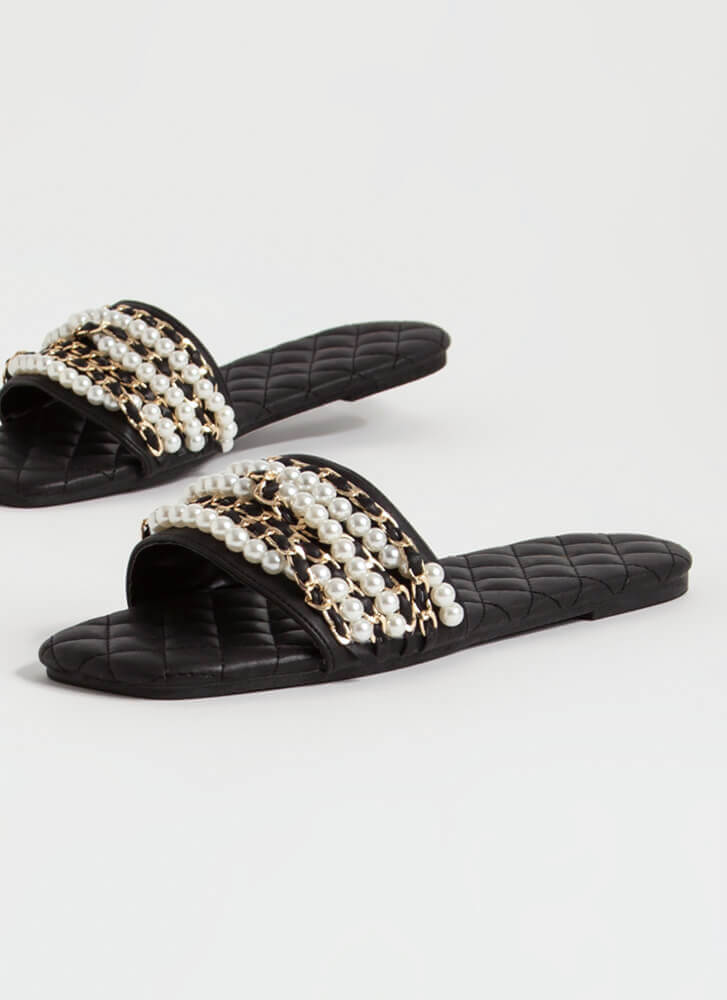 Chains Of Pearls Quilted Slide Sandals BLACK