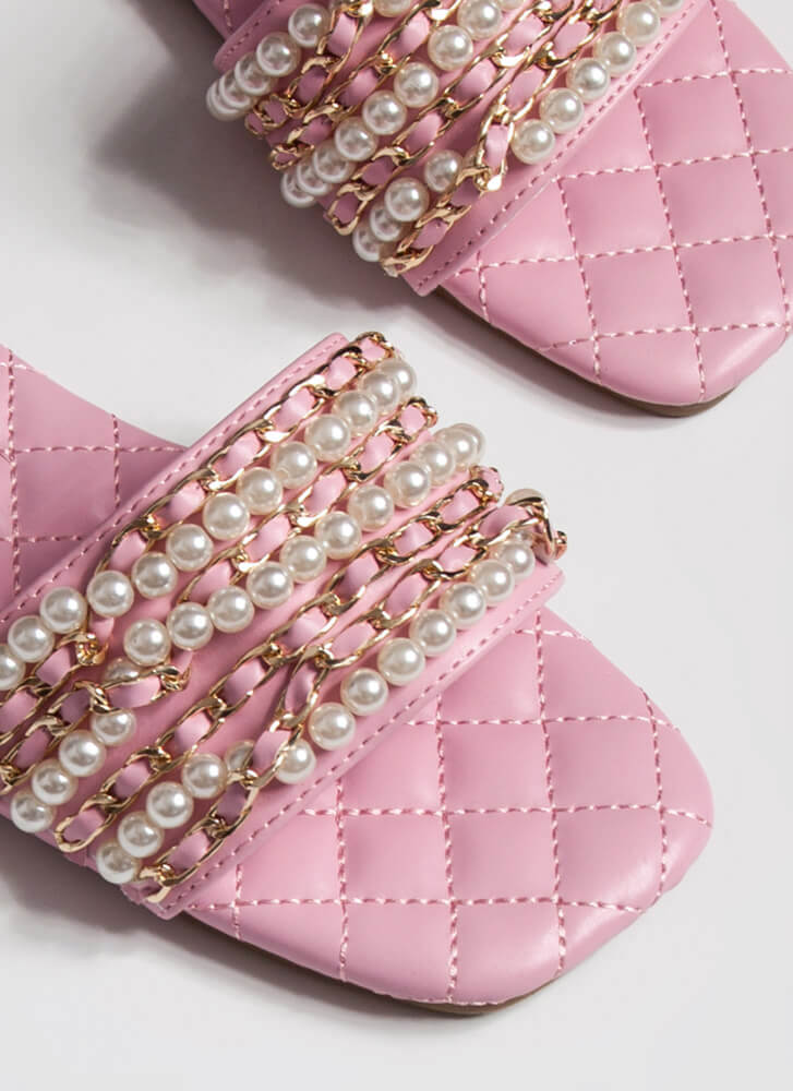 Chains Of Pearls Quilted Slide Sandals PINK