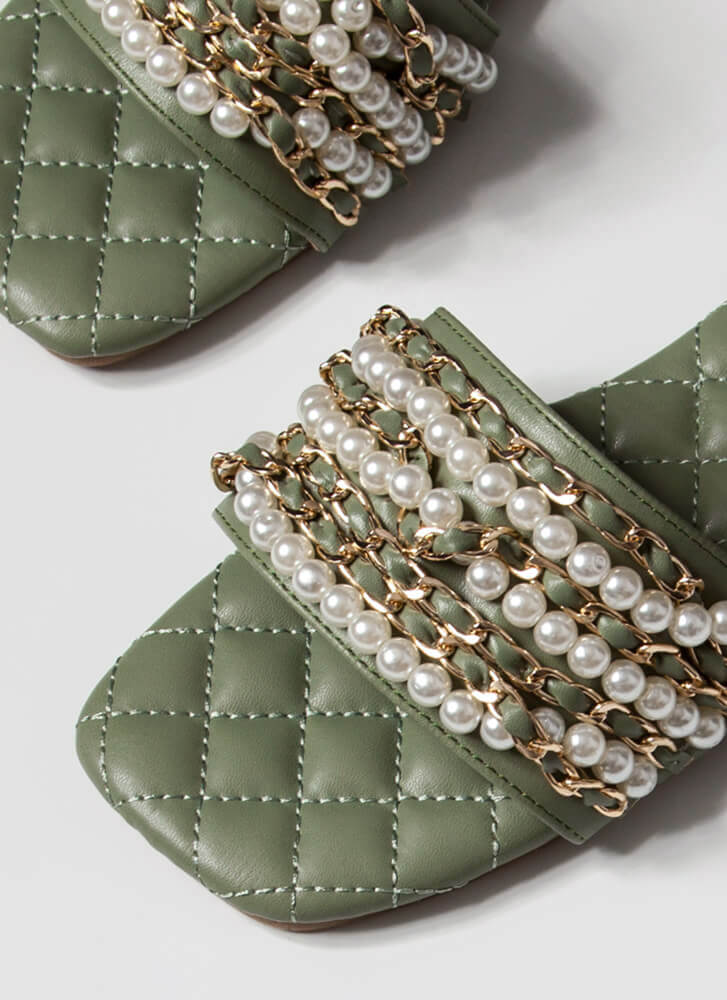 Chains Of Pearls Quilted Slide Sandals SAGE