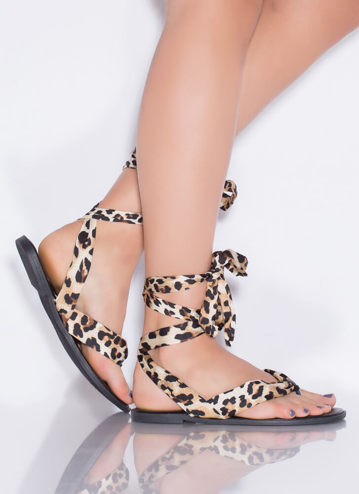 Beachy Boho Lace-Up Thong Sandals LEOPARD