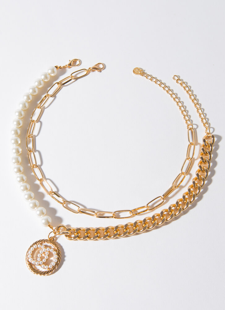 Pearls And Rings Chain Necklace Duo GOLDCREAM