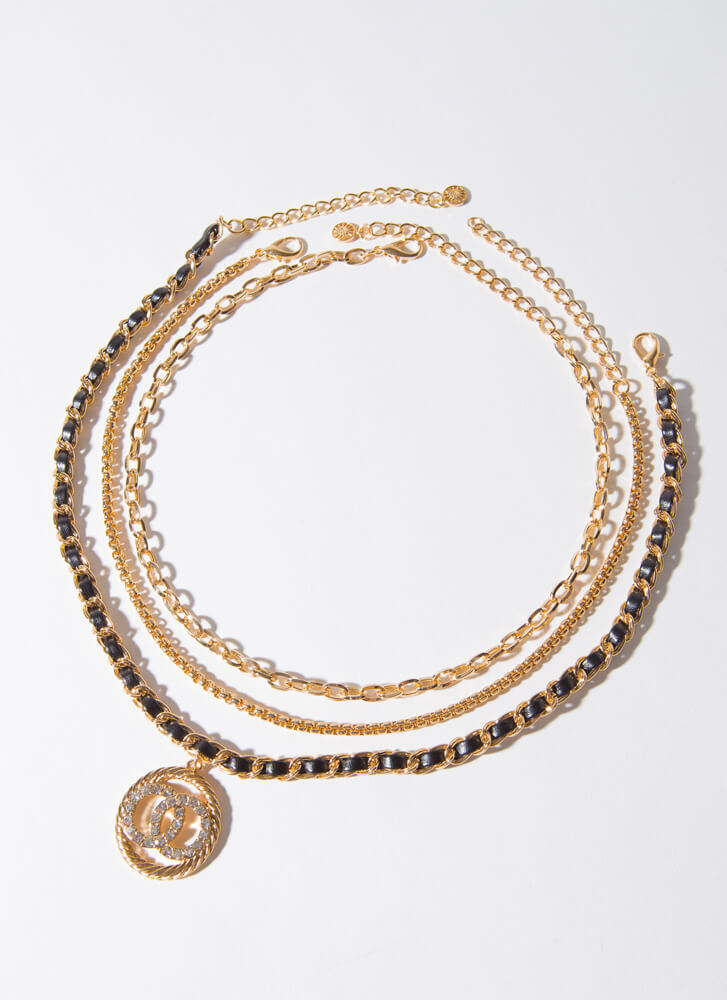 Rings And Things Chain Necklace Trio GOLDBLACK