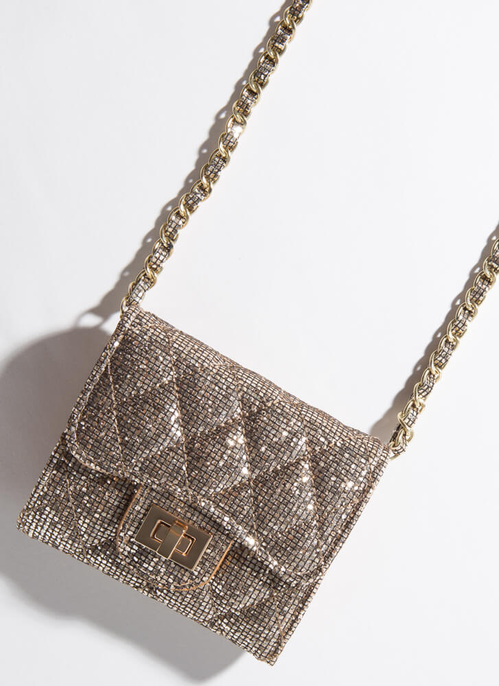 On-The-Go Glitter Chain-Strap Wallet GOLD
