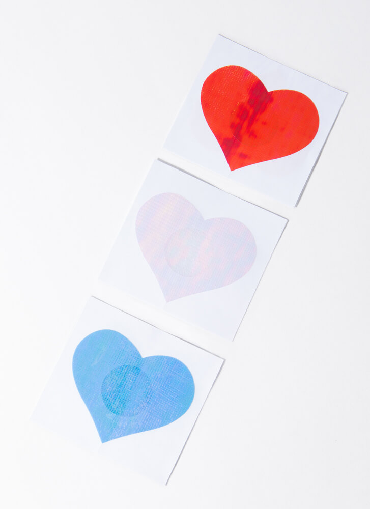 I Heart You Holographic Pasties Set MULTI