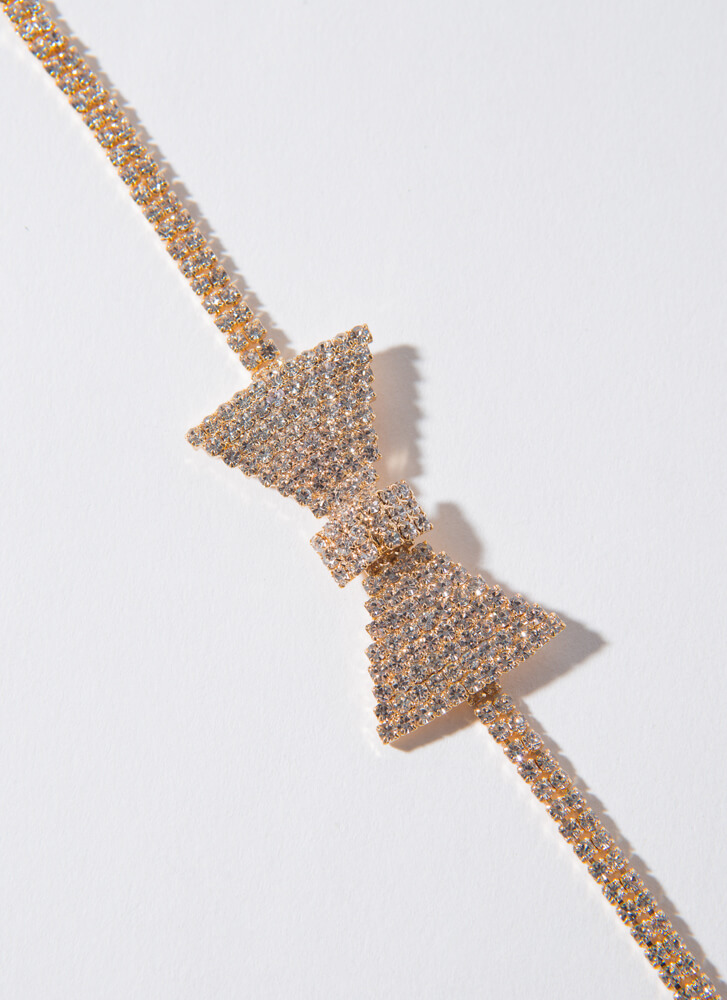 Special Event Jeweled Bow Ankle Bracelet CRYSTAL