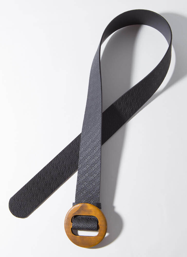 Give Me Texture Round Buckle Belt BLACK