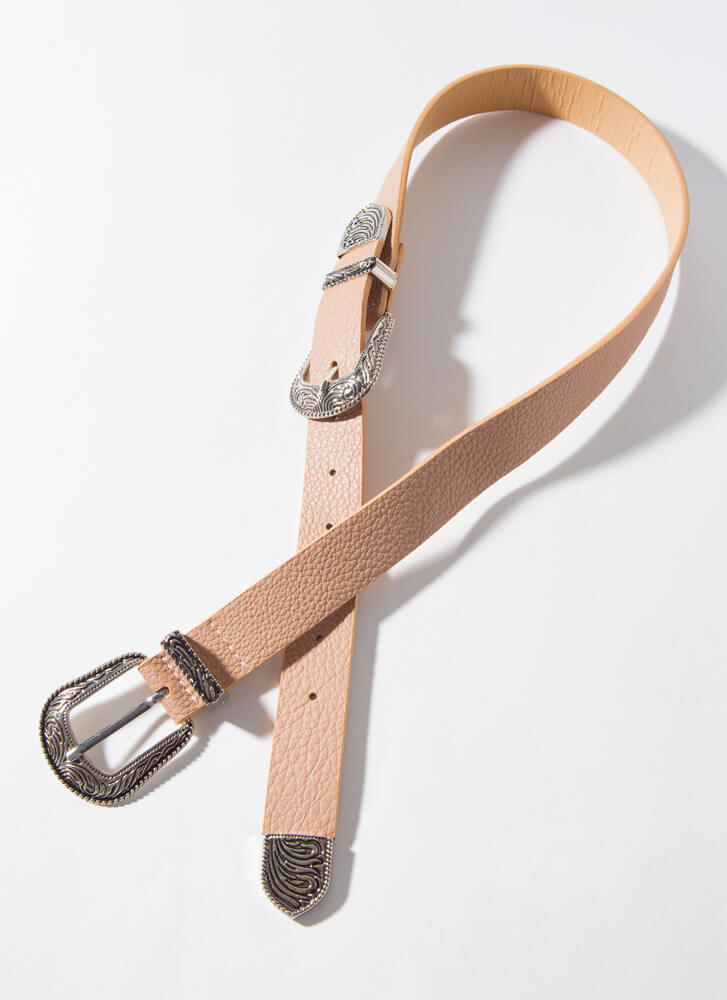 Out West Engraved Double Buckle Belt TAUPE