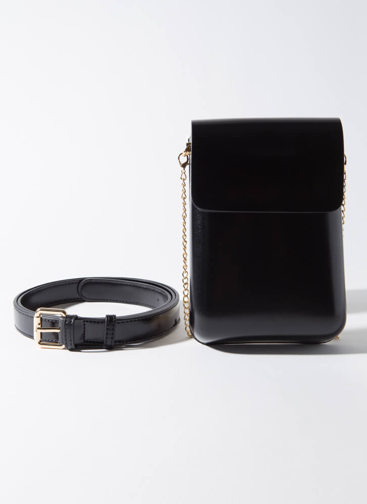 Smooth It Out Chained Pouch And Belt Set BLACK