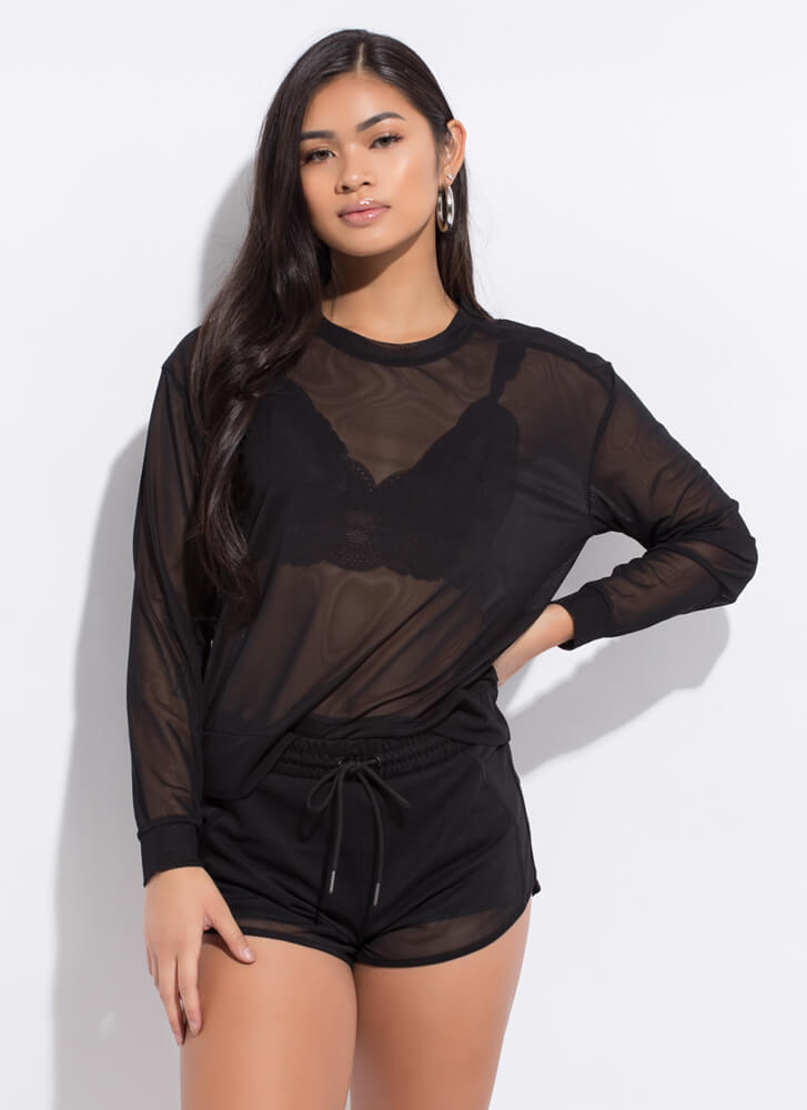 Sporty Spicy Mesh Top And Shorts Set BLACK