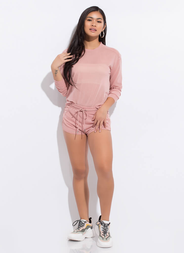 Sporty Spicy Mesh Top And Shorts Set BLUSH