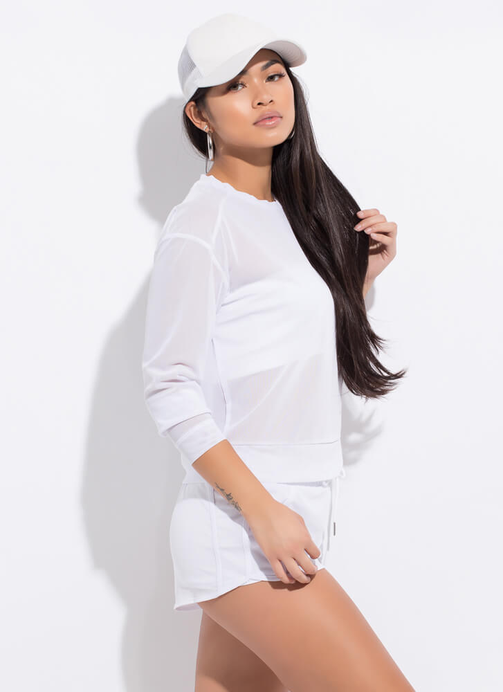 Sporty Spicy Mesh Top And Shorts Set WHITE