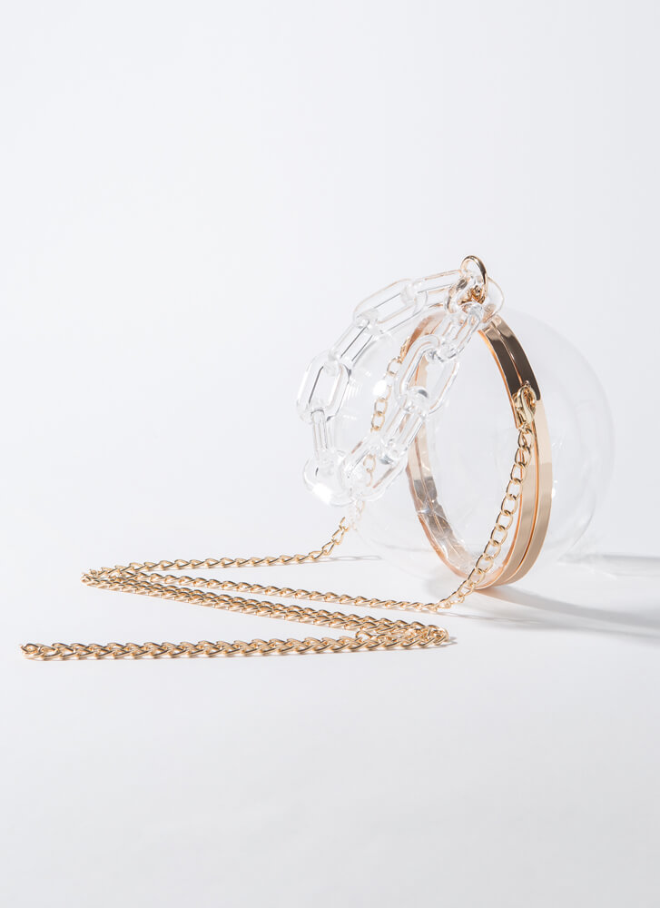 Around The Globe Clear Strap Orb Purse CLEAR