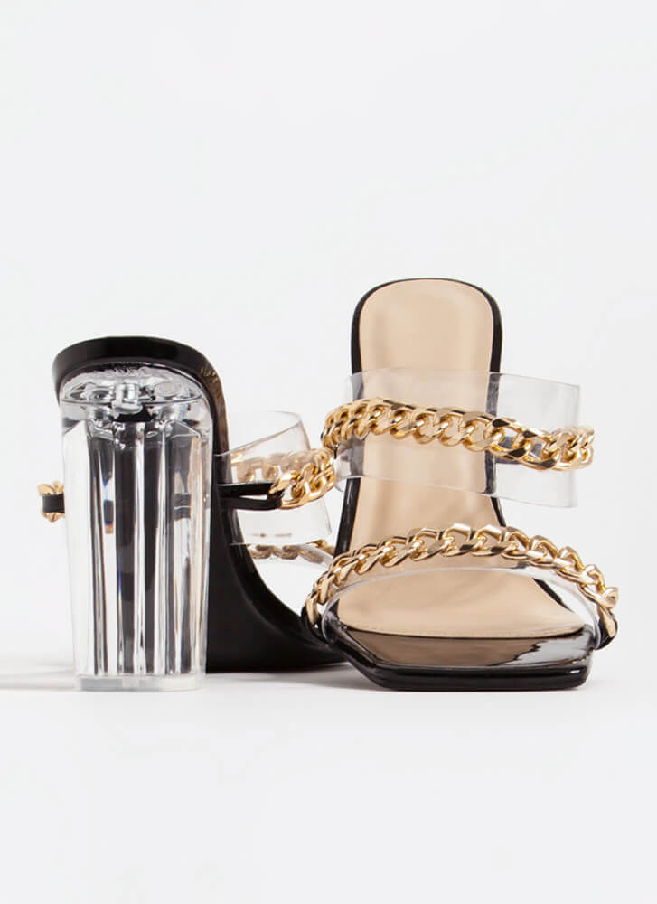 Luxe Links Chained Clear Lucite Heels BLACK