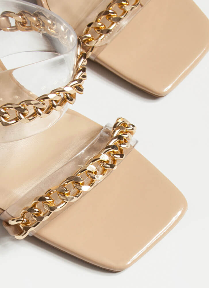 Luxe Links Chained Clear Lucite Heels NATURAL