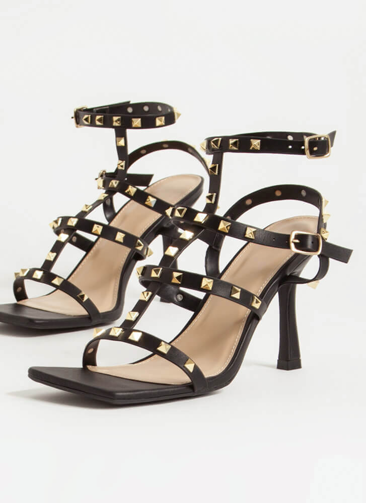Study The Classics Studded Caged Heels BLACK