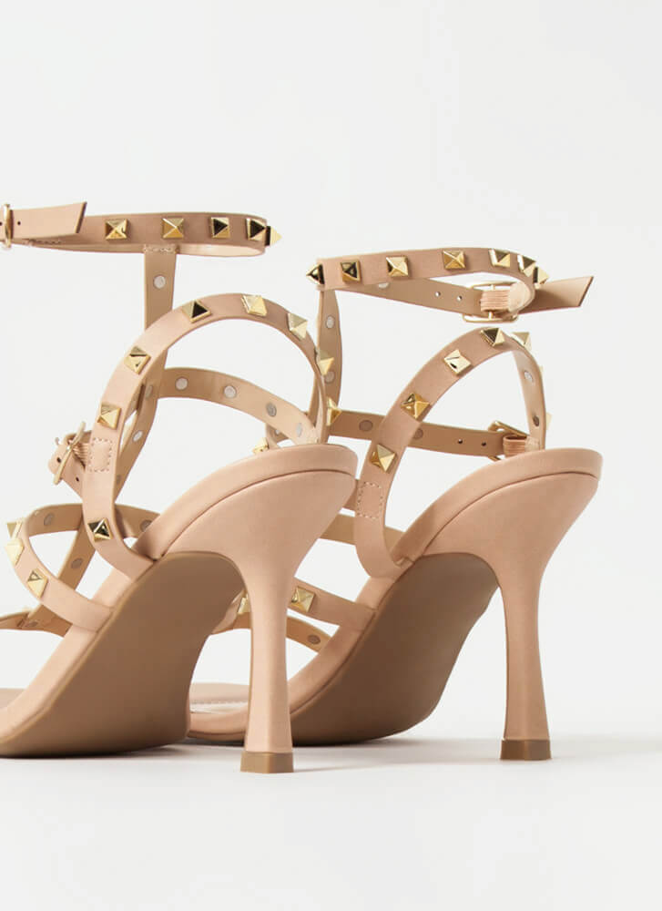 Study The Classics Studded Caged Heels NUDE
