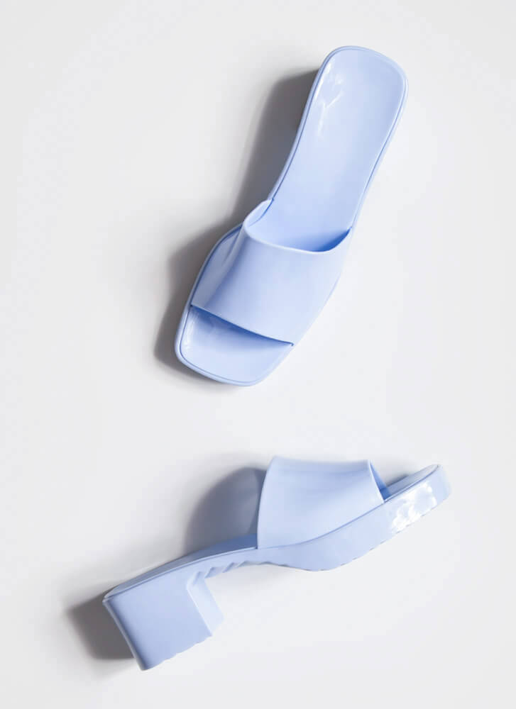 You're So Jelly Block Heel Sandals LTBLUE