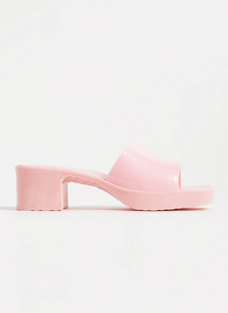 You're So Jelly Block Heel Sandals LTPINK
