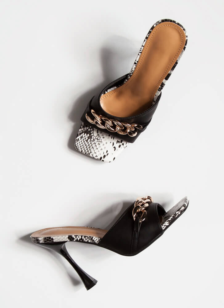 Snake Vibes Chain Accent Mule Heels BLACK