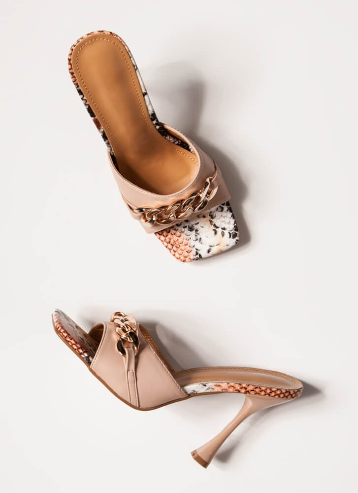 Snake Vibes Chain Accent Mule Heels NUDE