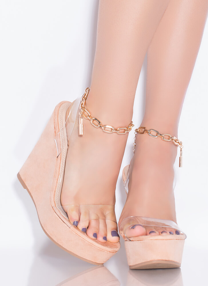 Under Lock And Key Chain Strap Wedges CLEAR