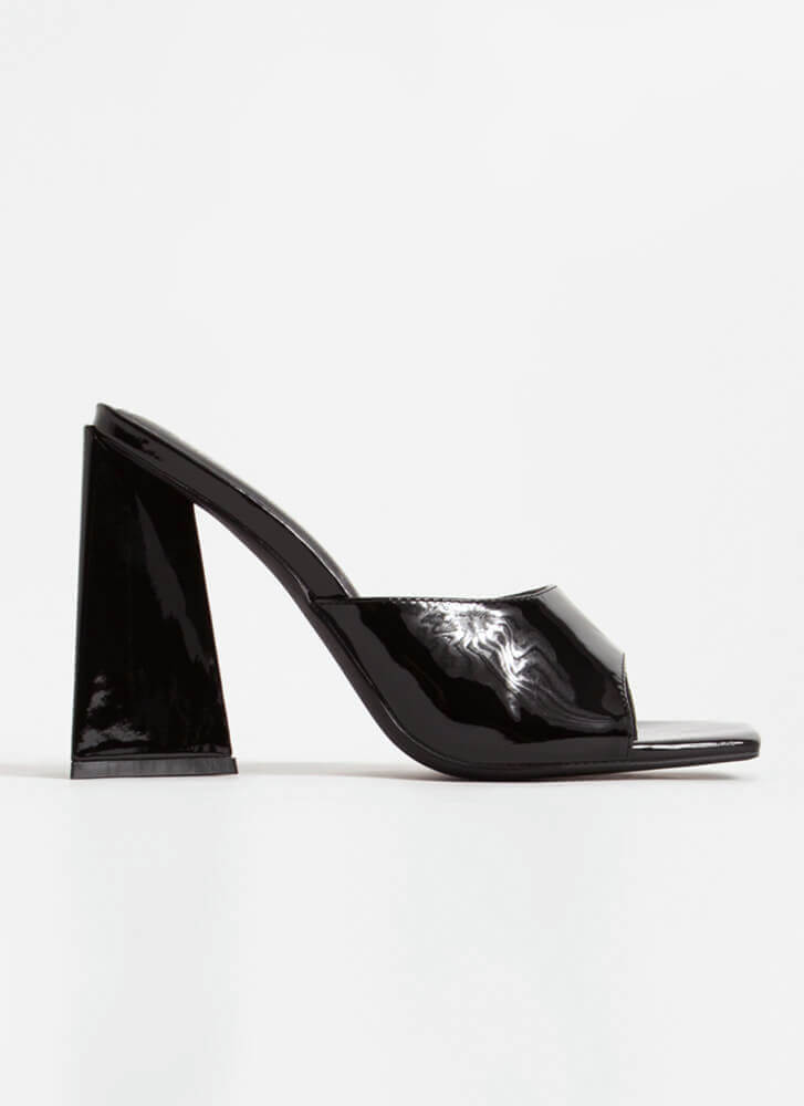 Squares And Triangles Chunky Mule Heels BLACK