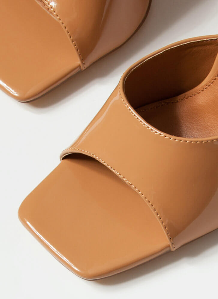 Squares And Triangles Chunky Mule Heels HONEY