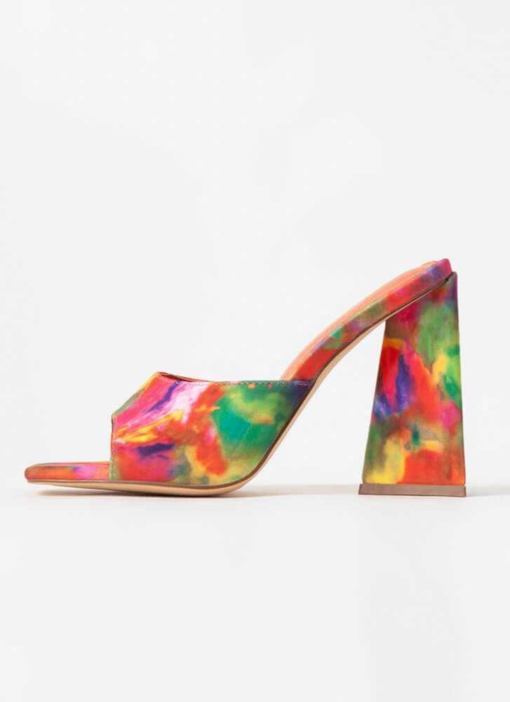 Squares And Triangles Chunky Mule Heels MULTI